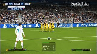 PES 2018 | Real Madrid Vs Borussia Dortmund | C.Ronaldo Free Kick Goal | UEFA Champions League (UCL)