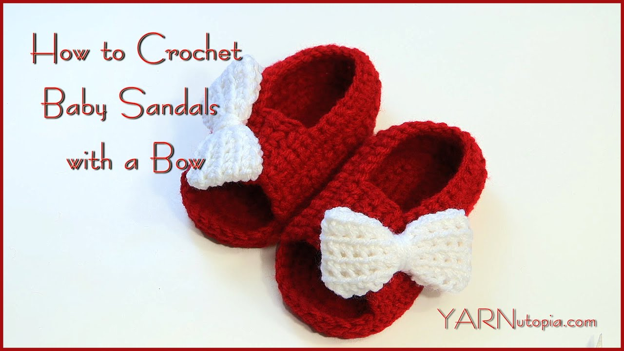 How to crochet baby sandals with a bow youtube how to crochet baby sandals with a bow bankloansurffo Images