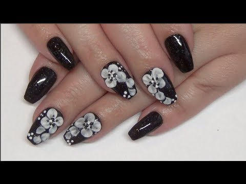 Black And White 3D Nail Art