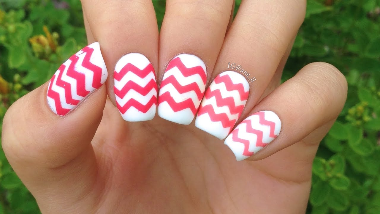 DIY Chevron Nails: 4 Ways! (a 5th way in the description) - YouTube