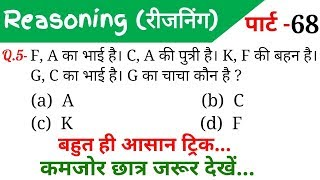 Reasoning Part - 68//For-RAILWAY NTPC, GROUP D, SSC CGL, CHSL, MTS, BANK & ALL EXAMS