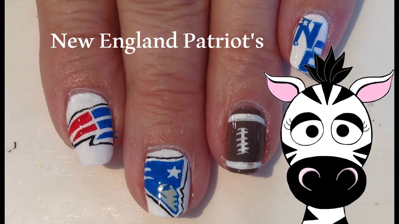 New England Patriot\'s Nail Art Tutorial (REQUEST) - YouTube