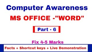 MS OFFICE- WORD | Facts | Shortcut keys | Live Demonstration | Computer Awareness [in Hindi] Part 6(In this video i am explaining MS office word. there will be 4-5 questions from this part so watch it carefully Computer awareness is very important for Bank Exams ..., 2016-11-17T12:55:28.000Z)