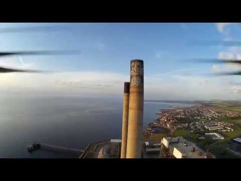 Cockenzie power station chimney stacks from the air