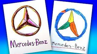 How to draw MERCEDES BENZ logo / AUTO LOGO car