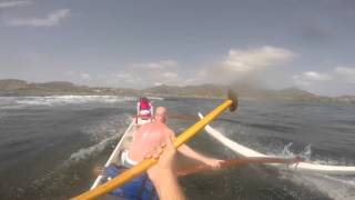 Outrigger canoe surfing at Le Galion, St Martin, part 2