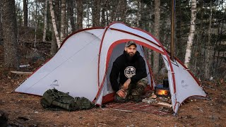 Overnight Solo Camping iฑ HOT TENT