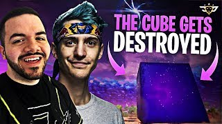 NINJA AND COURAGE WATCH THE CUBE GET DESTROYED! (Fortnite: Battle Royale)