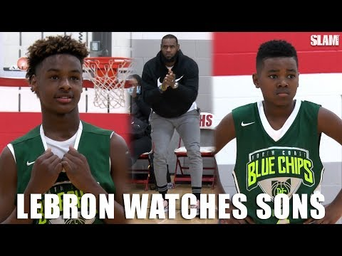 LeBron James watches Bronny and Bryce BALL on OLDER competition! LeBron James Jr  and Bryce Maximus