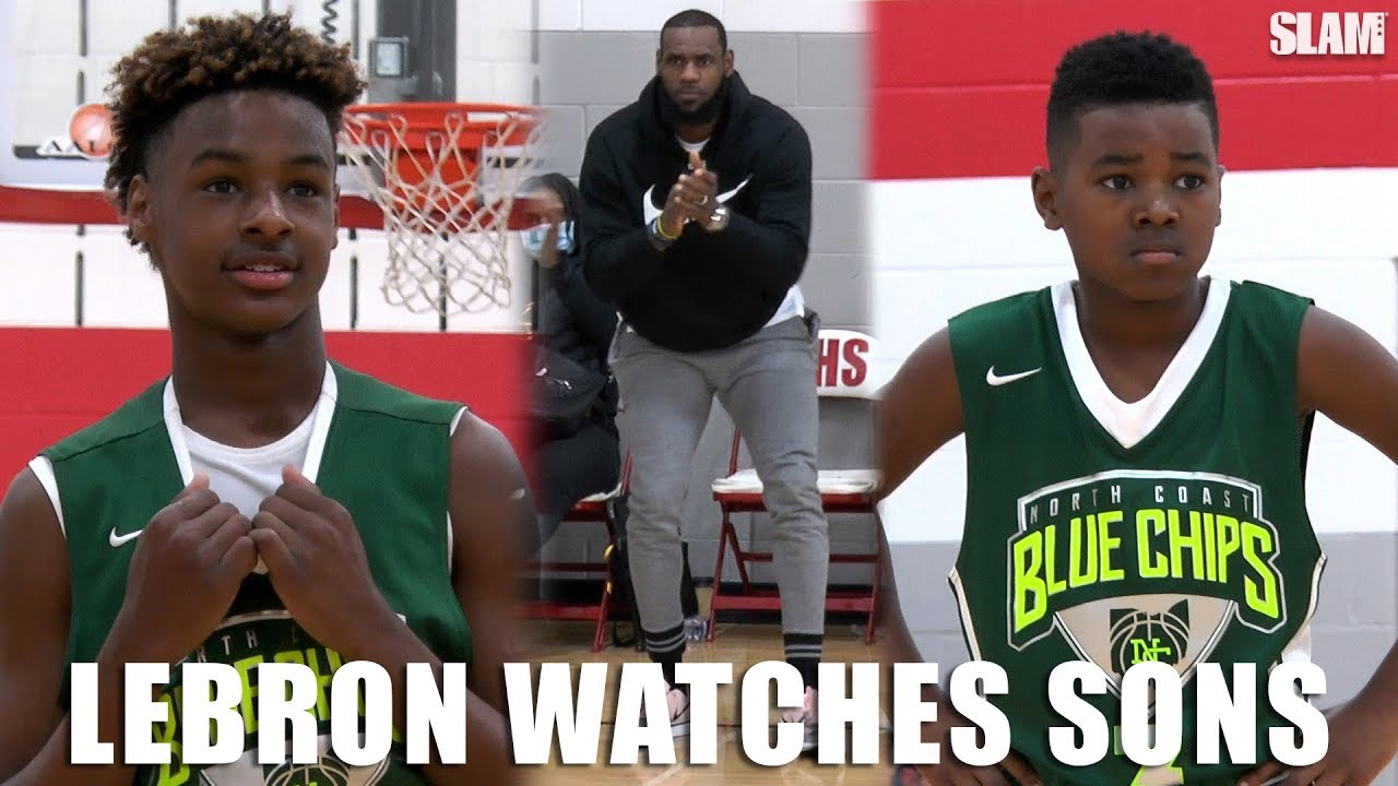 bb240e1b7e35 LeBron James watches Bronny and Bryce BALL on OLDER competition ...