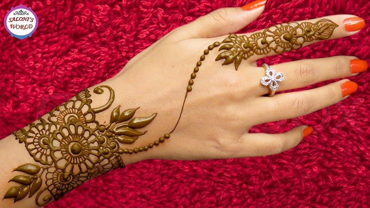 Mehndi Tattoo On Back : Ornamental jewellery style back hand henna mehndi designs