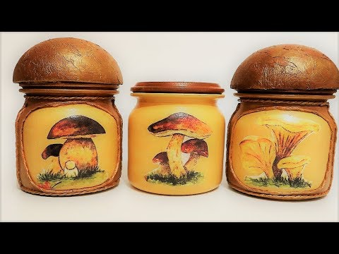 # 6 DIY decor | Recycled glass jars |Decor mushrooms