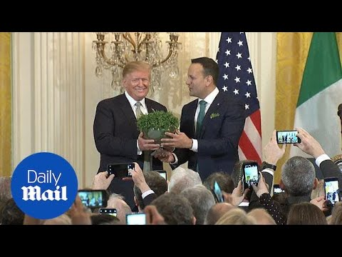 Irish Prime Minister presents shamrock bowl to President Trump