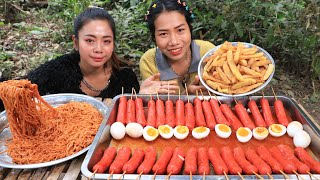 How to cook noodle with hot dog recipe and eating - Cooking skill