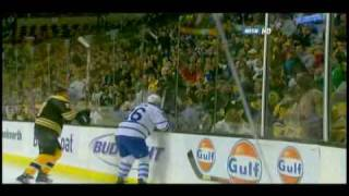 Milan Lucic hits Mike Van Ryn through the glass 10/23/08 thumbnail