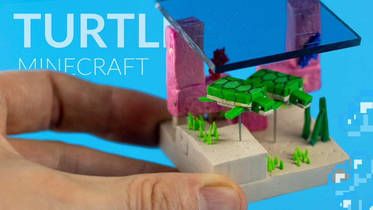 Creating TURTLES in an UNDERWATER Diorama – Minecraft with polymer clay