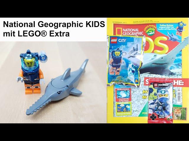 National Geographic KiDS mit LEGO® Extra: Taucher mit Sägefisch im Foilpack und Ninjago Booster Pack