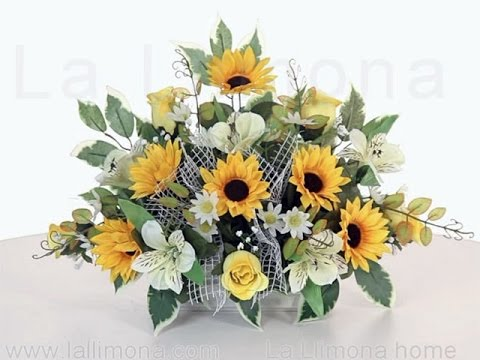 Arreglos Florales Jardinera Cerámica Con Girasoles Artificiales Y Rosas Bicolores La Llimona