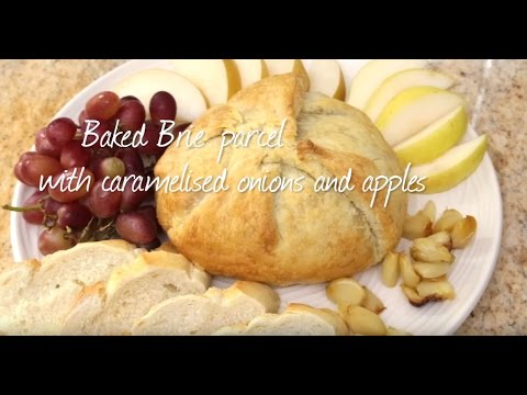 Baked Brie Parcel With Caramelised Onions And Apples