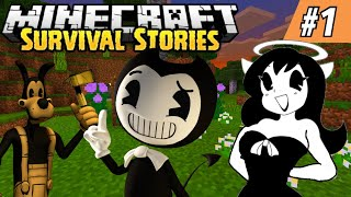 BENDY & BORIS TRY TO SURVIVE THE NIGHT! || Minecraft Survival Episode #1