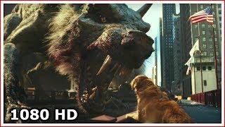 Волк-мутант зарычал на собаку | Рэмпейдж (2018)