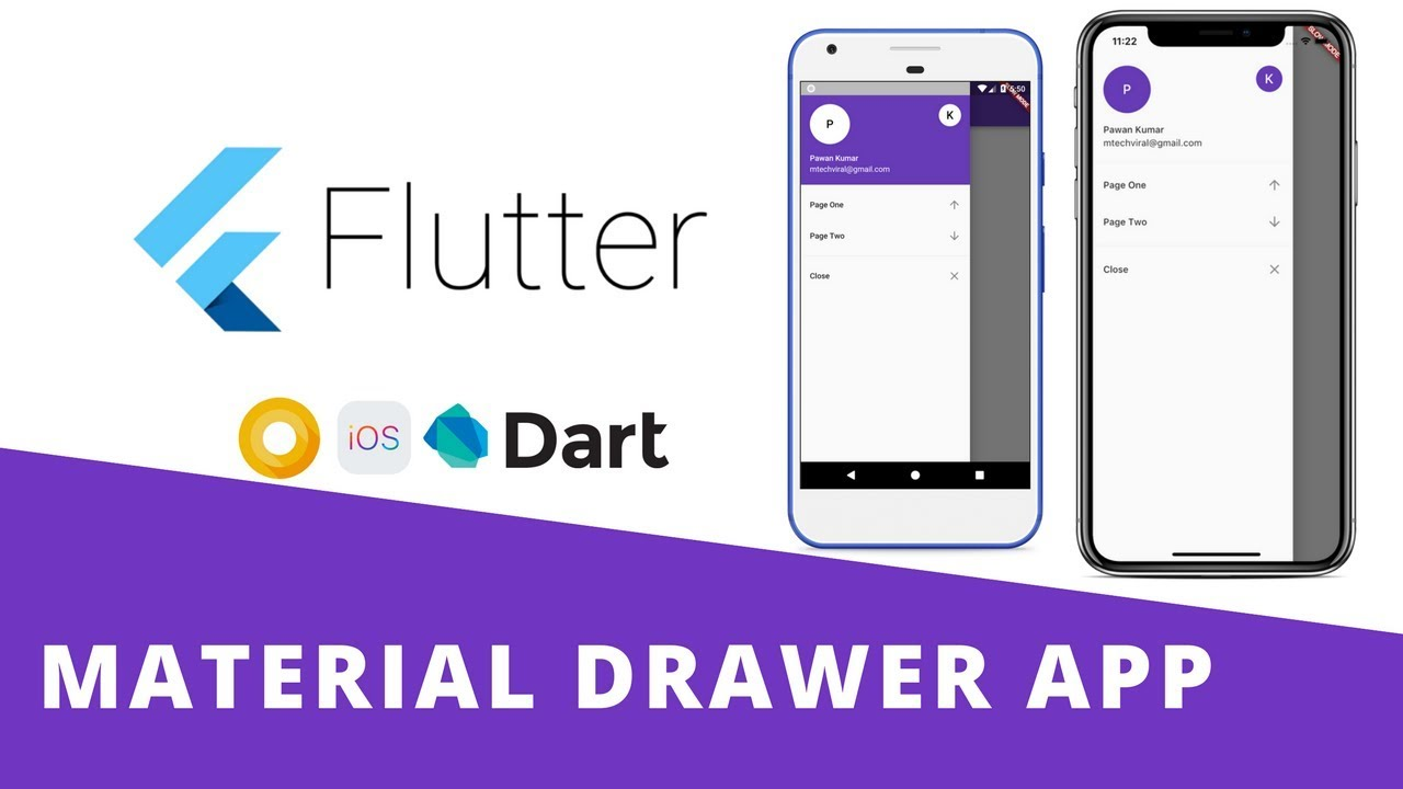 Flutter - Build Beautiful Material Navigation Drawer App With Routing |  Android & iOS