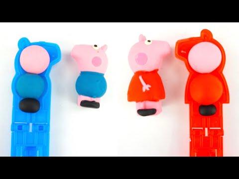 Свинка Пеппа игрушка для детей. Лепим героев мультика из пластилина.