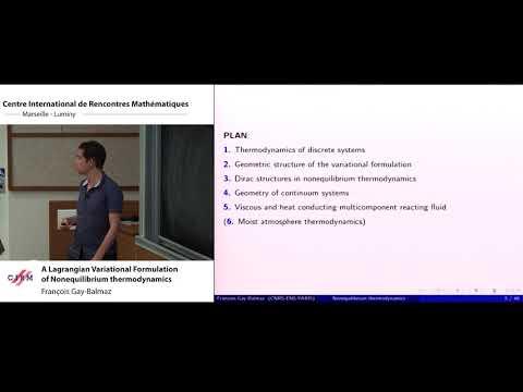 François Gay-Balmaz : A Langrgian Variational Formulation of Nonequilibrium thermodynamics