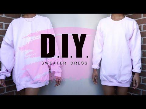 Summer DIY    Oversized Crewneck to Sweater Dress