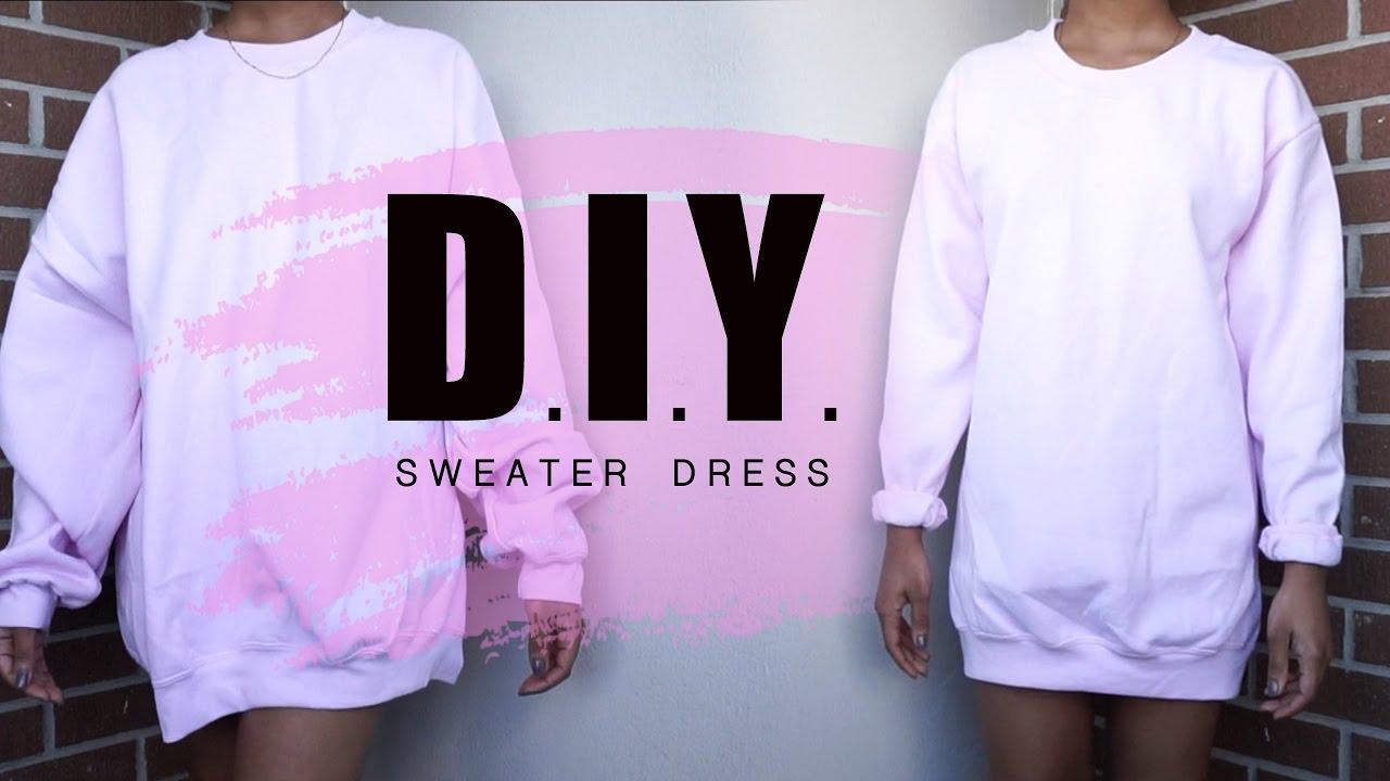 Summer DIY | Oversized Crewneck to Sweater Dress - YouTube