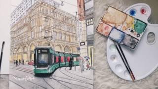 Finland tram illustration Maramgart (watercolor)