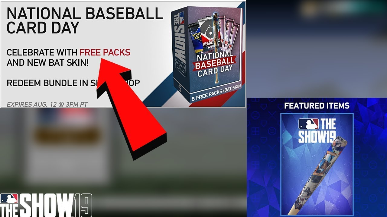 National Baseball Card Day Mlb The Show 19 Free Pack Bundle New Bat Skinjuly Monthly Award Packs