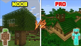 Minecraft NOOB TREEHOUSE VS PRO TREEHOUSE / SURVIVAL OF THE BEST TREEHOUSE BUILD !! Minecraft