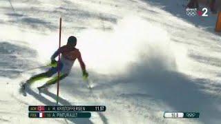 JO 2018 : Ski alpin - Slalom Hommes. Alexis Pinturault serein lors de cette première manche