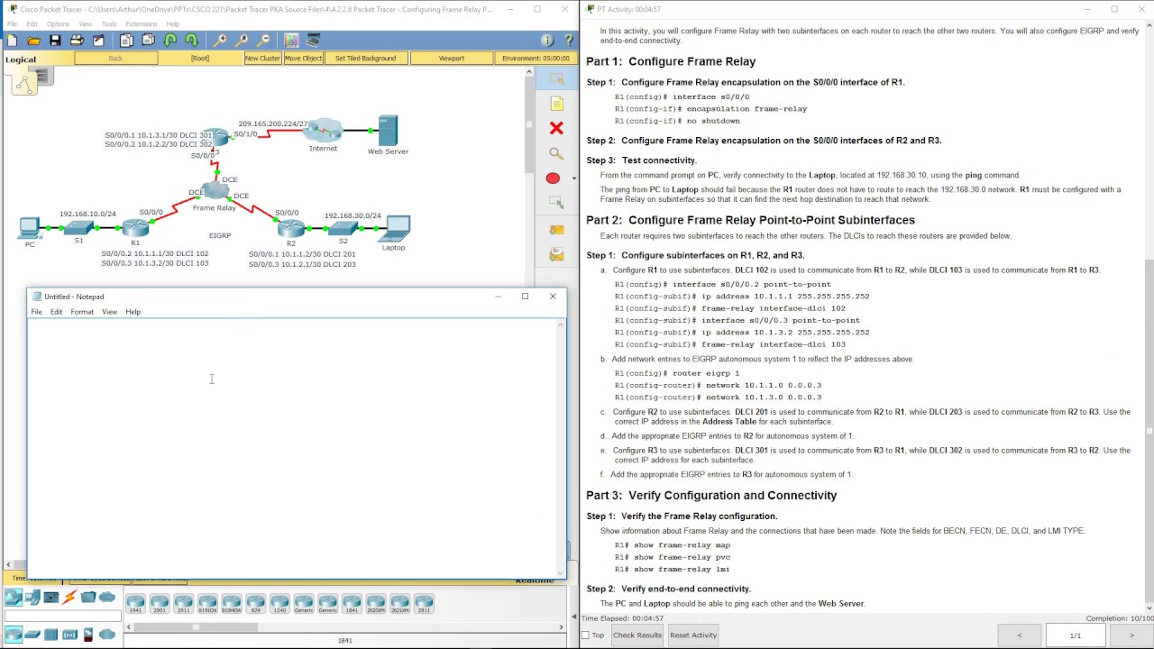 Lab 4.2.2.6 Packet Tracer - Configuring Frame Relay Point-to-Point ...