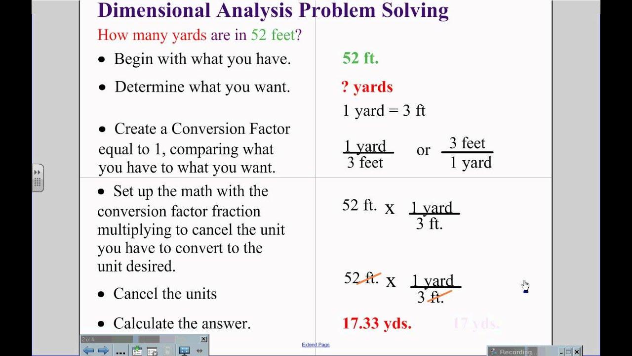 Dimensionalysis Problem Solving
