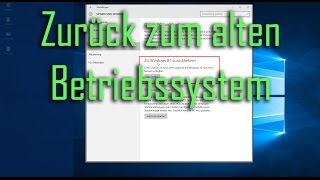 [Win10] Tipps & Tricks - Zurück zum alten Windows ( Downgrade ) (Deutsch/German)