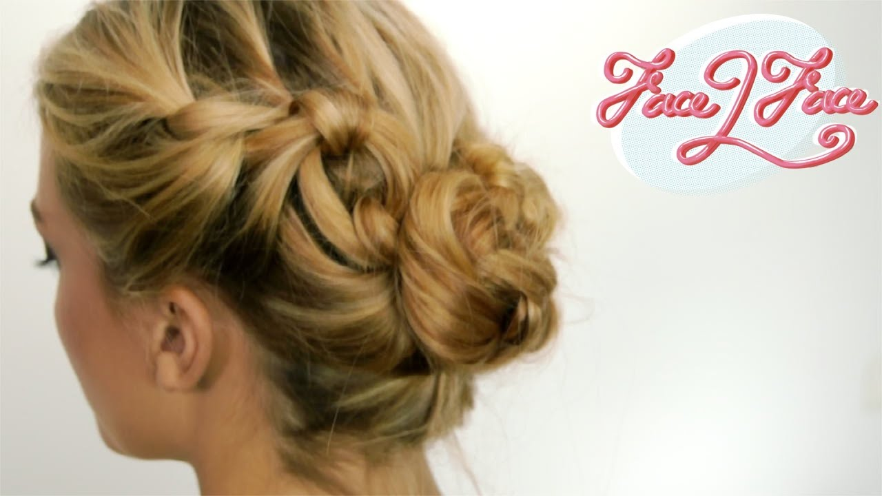 coiffure facile le chignon noeuds youtube