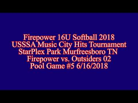 USSSA Music City Hits Firepower vs  Outsiders 02 Pool Game #5