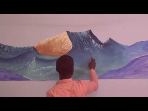 How to wall painting Ideas | large mountains wall painting | Dilip Art