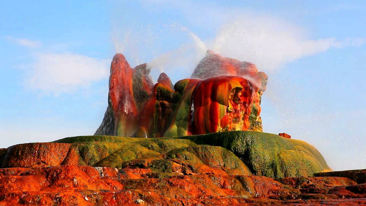 Las Vegas 94 >> Water shooting from the colorful, smooth, and interesting rock formation at Fly Geyser, Nevada ...