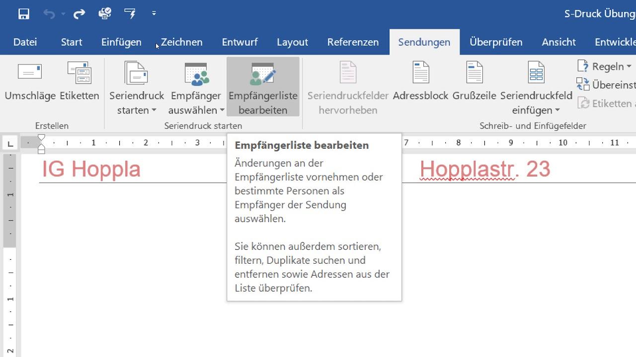 12032018 Word und Excel 2016, Seriendruck, Serienbrief - YouTube