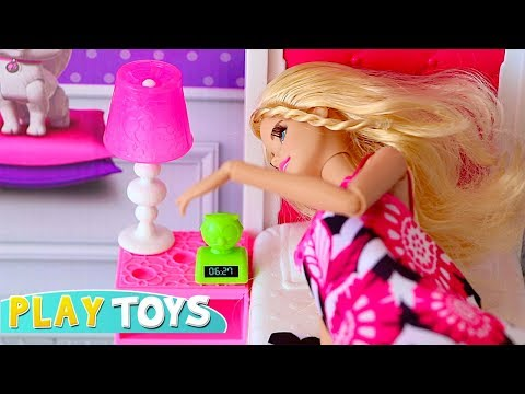 Barbie Doll Bedroom and Bathroom Toys Play in Glam Dollhouse! 🎀