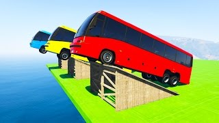 Color BUS Jump On ramps  Fun cartoon for kids and babies with Superheroes