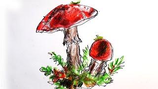 Как нарисовать гриб мухомор / урок рисования для детей