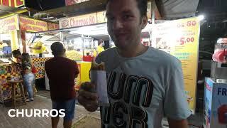 Brazilian street food Уличная еда в Бразилии Churros Churrasquinho Acaraje Hot dog Part1