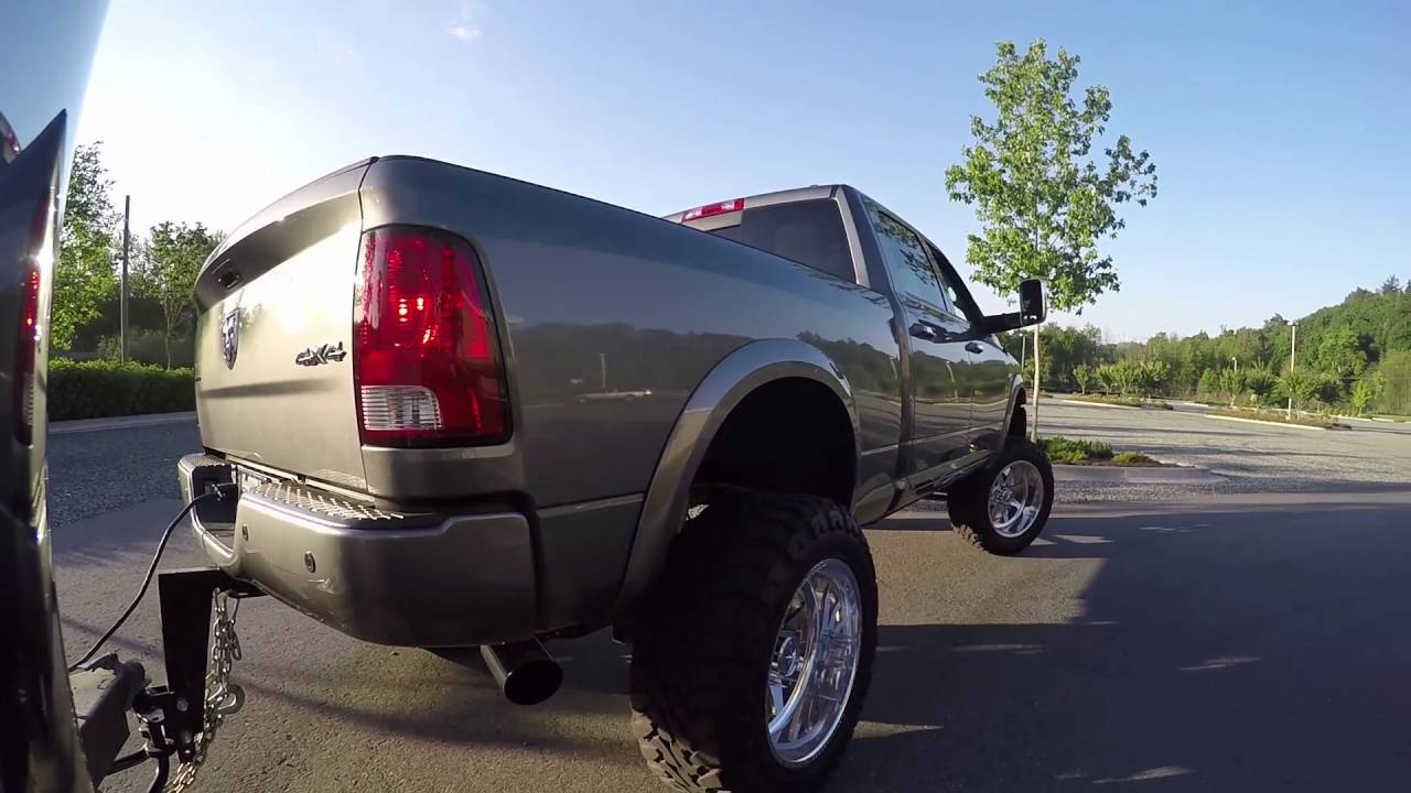 2012 Lifted Ram 3500 6 7 Cummins Towing Trailer 4 Straight Pipe Exhaust Youtube
