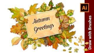 Design a Vintage Autumn Frame with Watercolor Leaf Brushes in Adobe Illustrator