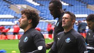Celebrities & Sports Stars Train At Stamford Bridge Ahead Of Soccer Aid - Usain Bolt, Didier Drogba