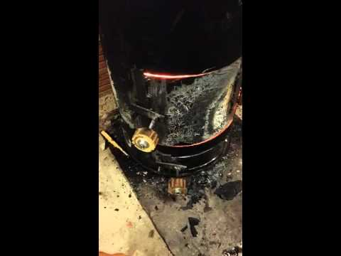 First homemade wood stove start in garage.